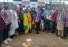 Apni Party leaders during a joining programme at Jammu on Thursday.
