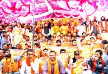 BJYM activists during Youth Jodo Sankalp Abhiyan in Reasi on Thursday.