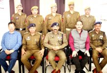 Newly promoted cops with officers at SKPA Udhampur after pipping ceremony.