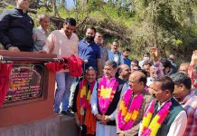 MP, Jugal Kishore Sharma and former Minister, D K Manyal inaugurating MPLAD works in Nud on Thursday.