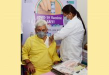 Lieutenant Governor Manoj Sinha getting COVID vaccine in the GMC Jammu on Thursday.
