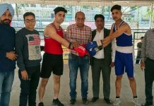 Senior Manager Sports Council, Satish Gupta inaugurating District Boxing Championship at MA Stadium Jammu on Wednesday.