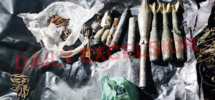 Ammunition and explosives recovered in Mahore on Friday. —Excelsior/Romesh Mengi