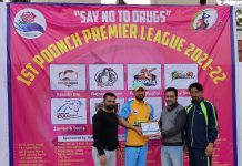A player being awarded by dignitaries of the event at Poonch.
