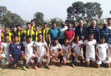 Winning team posing for a group photograph with dignitaries at GGM Science College Ground Jammu.