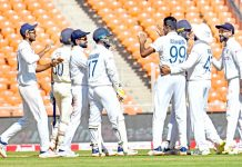 Indian players celebrating after falling of a wicket during first day's play of the fourth cricket test against England at the Narendra Modi Stadium in Ahmedabad on Thursday. (UNI)