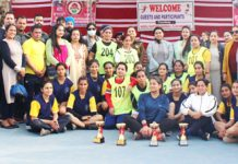 Winners of Handball posing for a group photograph with dignitaries at Udhampur.