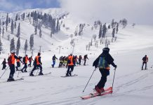 Players in action during National Winter Games at Gulmarg.