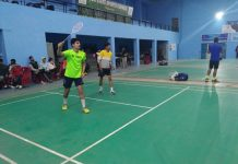 Players in action during a Badminton match at Jammu.