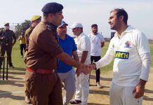 SDPO Akhnoor Varun Jandiyal interacting with players at Country Cricket Ground Amb Ghrota on Saturday.