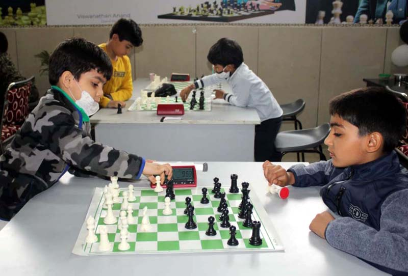 Players evincing keen interest during Chess games at IDPS Jammu.