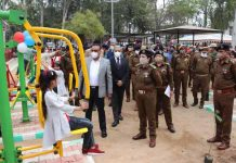 DGP Dilbag Singh inspecting installed Gym equipments after inaugurating Open Air Gym at Police Housing Colony, Channi Himmat.