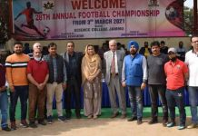 Secretary JKSC, Nuzhat Gul posing for group photograph during 28th Annual Football Tournament along with other dignitaries at Jammu.