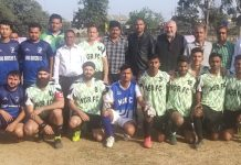 Winning team along with chief guest Moon Stephen, former national footballer posing for group photograph at Jammu.