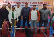 Dignitaries during opening ceremony of UT level Bench Press Championship at Jammu.