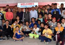 Winners posing for a group photograph with chief guest, Divisional Sports Officer Ashok Singh at Jammu on Friday.Winners posing for a group photograph with chief guest, Divisional Sports Officer Ashok Singh at Jammu on Friday.