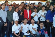 SSP Samba, Rajesh Sharma posing a photograph with winning women team at Samba on Friday.