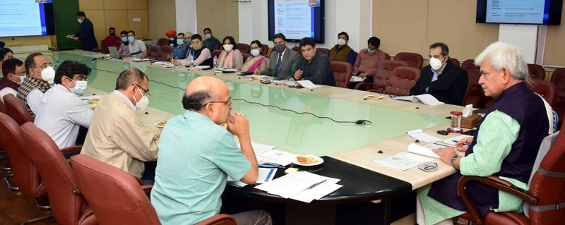 Lt Governor Manoj Sinha chairing meeting regarding 75 years celebrations of Independence at Jammu on Friday.
