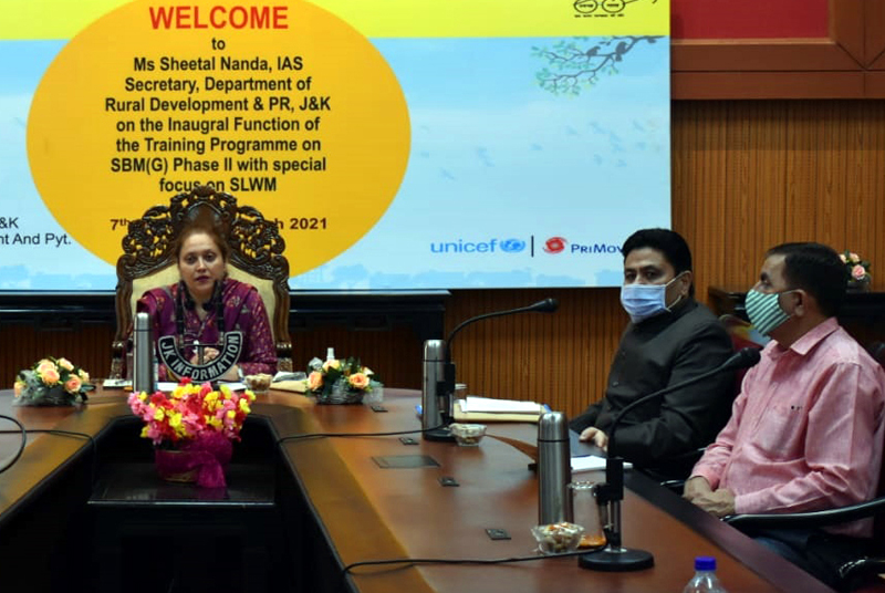 Secy RDD, Sheetal Nanda at inaugural session of training prog on Solid, Liquid Waste Management in Jammu.