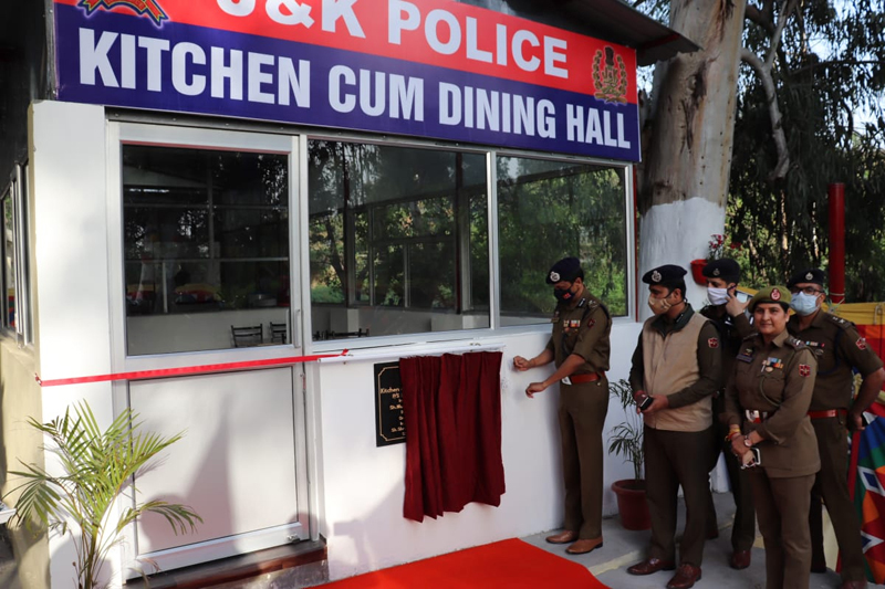 IGP Jammu Mukesh Singh inaugurating kitchen-cum-dining hall at Police Station Bagh-e-Bahu.