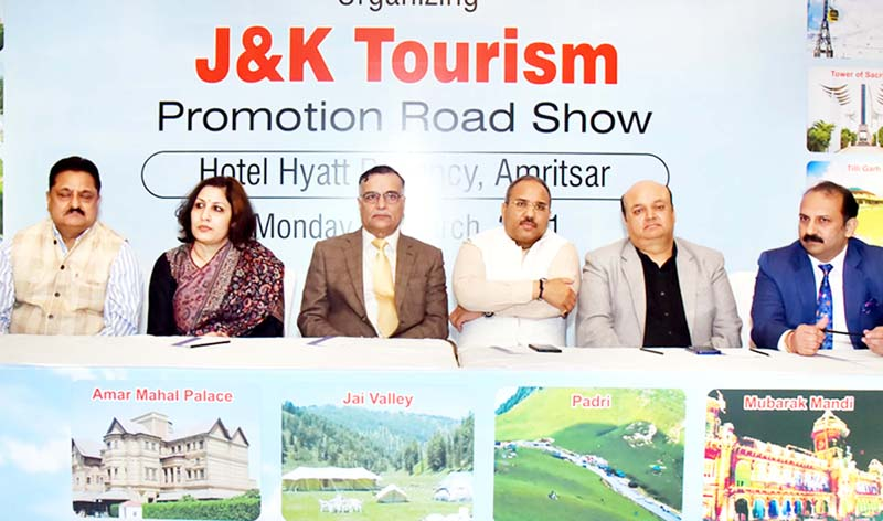 Officers of J&K Tourism Department and JATO representatives during a press conference in Amritsar.