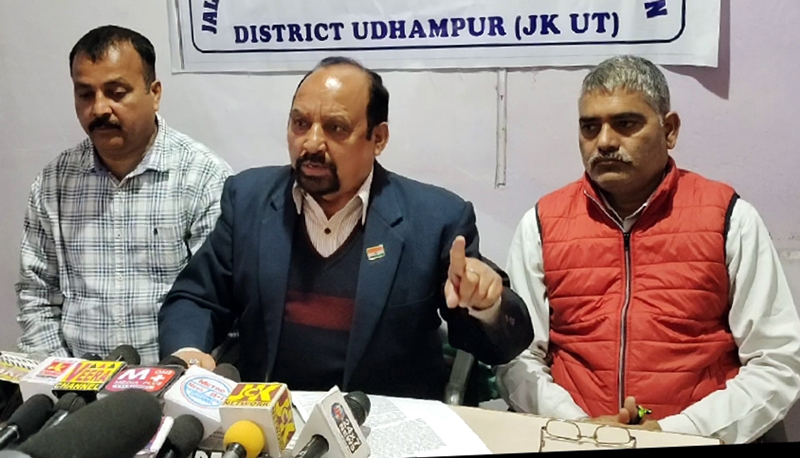 NPP Trade Union leader Som Nath addressing press conference at Udhampur on Friday.