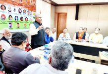 President Bhartiya Atal Sena Rastrawadi J&K addressing a meeting at Jammu on Sunday.