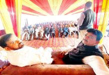 JKNPP chairman Harsh Dev Singh and general secretary Yash Paul Kundal during a party convention at Vijaypur in Samba district.