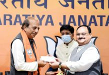 Former TMC MP Dinesh Trivedi joins BJP in presence of BJP National President J P Nadda, in New Delhi on Saturday. (UNI)