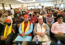 MP Jugal Kishore Sharma and other leaders at Heyrat Milan function at Jammu on Saturday.