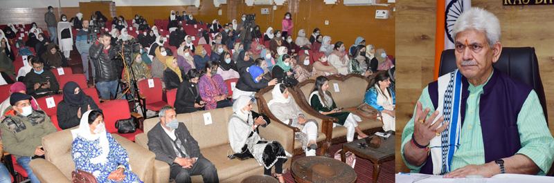 Lt Governor speaking during International Women's Day celebrations function at Srinagar.