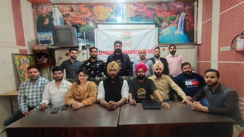New team of Mission Humanity First posing for a group photograph at Jammu on Friday.