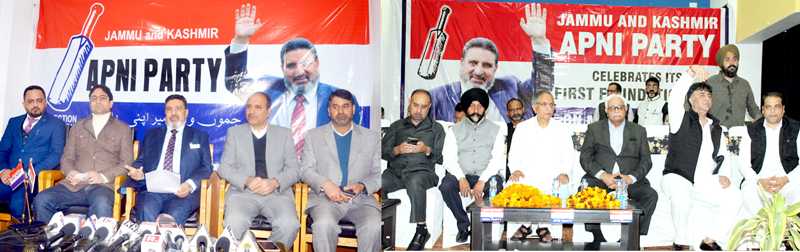 Apni Party president Altaf Bukhari and others (L) at foundation day function in Srinagar, G H Mir & others (R) at a function in Jammu.