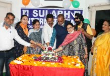 Dignitaries celebrating 51st Foundation Day of Sulabh International Social Service Organisation at Jammu on Friday.