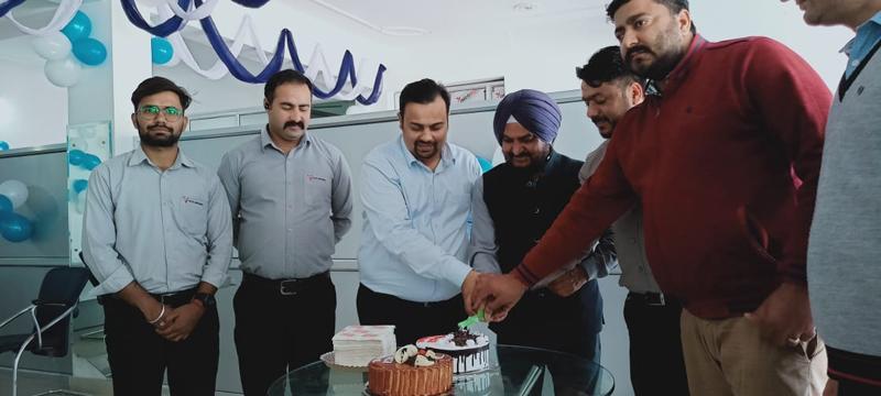 Dignitaries inaugurating Jamkash Trucking outlet in Akhnoor.
