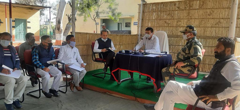DC Samba Rohit Khajuria chairing meeting in Ramgarh.