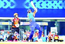 Kieron Pollard playing a shot against Sunrisers Hyderabad during a match on Saturday.