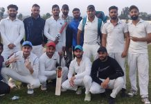 Winning team posing for a group photograph at Jourian Cricket Ground on Wednesday.
