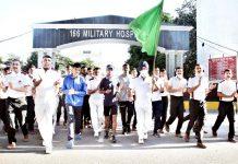 Brigadier K J Singh flagging off journey of Naik Velu at 166 Military Hospital Jammu.