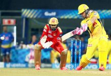 Faf du Plessis during his knock of 36 not out against Punjab Kings at Mumbai on Friday.
