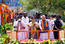 Union Home Minister, Amit Shah during the road-show ahead of April 6 Assembly Elections, in Chennai on Saturday. (UNI)