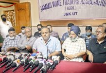 Leaders of various business bodies & Jammu Wine Traders Association addressing a joint press conference on Wednesday. -Excelsior/Rakesh