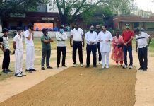 Dignitaries during inauguration of Akhnoor Premier League Cricket Tournament.
