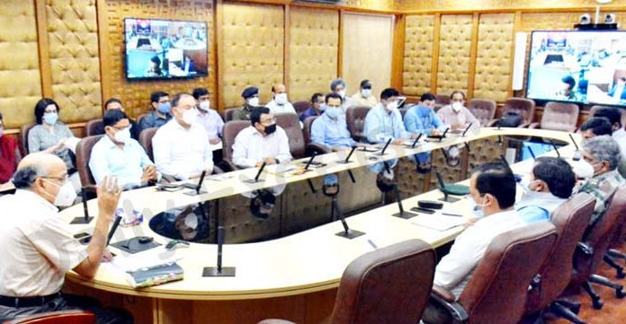 Chief Secretary BVR Subrahmanyam chairing a meeting in Jammu on Wednesday.