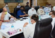 Lieutenant Governor Manoj Sinha reviewing COVID situation in J&K with senior officers in Jammu on Sunday.