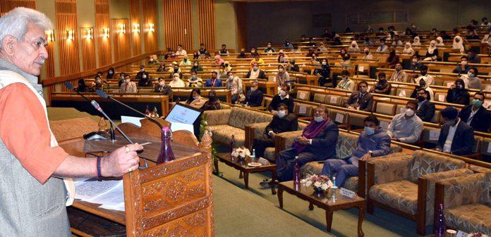 Lieutenant Governor Manoj Sinha addressing a conference at SKICC Srinagar on Saturday.