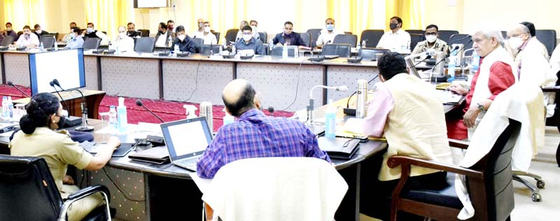 Lieutenant Governor Manoj Sinha reviewing development works at Ramban on Tuesday.