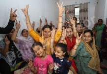 Women and children celebrating safe release of CRPF commando Rakeshwar Singh Manhas at his residence in Barnai area of Jammu. — Excelsior/Rakesh