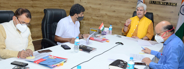 Lieutenant Governor Manoj Sinha chairing a meeting in Jammu on Saturday.