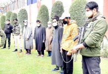 Militants and OGWs arrested in Handwara on Tuesday. -Excelsior/Abid Nabi
